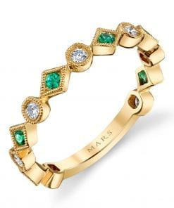 Diamond & Emerald Ring - Stackable  Style #: MARS-26213YGEM